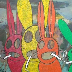 Rabbits On A Smoke Break Original Acrylic Painting